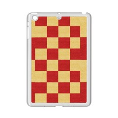 Fabric Geometric Red Gold Block Ipad Mini 2 Enamel Coated Cases by Nexatart