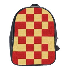 Fabric Geometric Red Gold Block School Bags (xl)