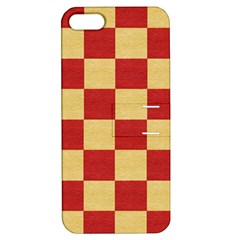 Fabric Geometric Red Gold Block Apple Iphone 5 Hardshell Case With Stand by Nexatart