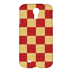Fabric Geometric Red Gold Block Samsung Galaxy S4 I9500/i9505 Hardshell Case by Nexatart