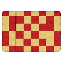 Fabric Geometric Red Gold Block Samsung Galaxy Tab 8 9  P7300 Flip Case by Nexatart