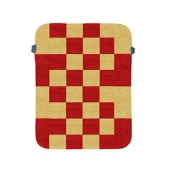 Fabric Geometric Red Gold Block Apple Ipad 2/3/4 Protective Soft Cases by Nexatart