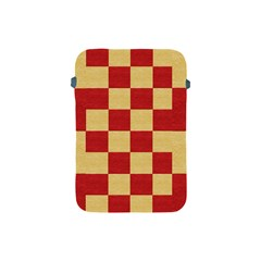 Fabric Geometric Red Gold Block Apple Ipad Mini Protective Soft Cases by Nexatart