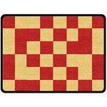 Fabric Geometric Red Gold Block Double Sided Fleece Blanket (Large)  80 x60 Blanket Back