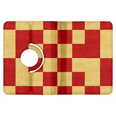 Fabric Geometric Red Gold Block Kindle Fire Hdx Flip 360 Case by Nexatart