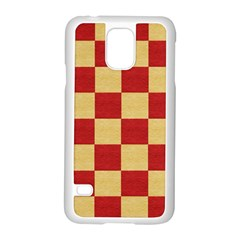 Fabric Geometric Red Gold Block Samsung Galaxy S5 Case (white) by Nexatart