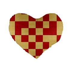 Fabric Geometric Red Gold Block Standard 16  Premium Flano Heart Shape Cushions by Nexatart