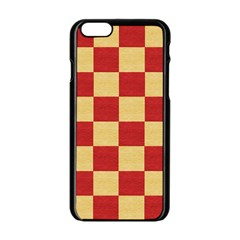 Fabric Geometric Red Gold Block Apple Iphone 6/6s Black Enamel Case by Nexatart