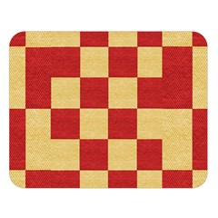 Fabric Geometric Red Gold Block Double Sided Flano Blanket (large)  by Nexatart