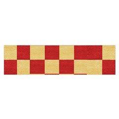 Fabric Geometric Red Gold Block Satin Scarf (oblong) by Nexatart