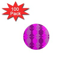 Fabric Textile Design Purple Pink 1  Mini Magnets (100 Pack)  by Nexatart