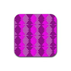 Fabric Textile Design Purple Pink Rubber Square Coaster (4 Pack)  by Nexatart