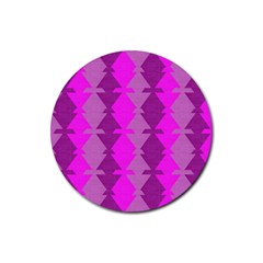 Fabric Textile Design Purple Pink Rubber Round Coaster (4 Pack)