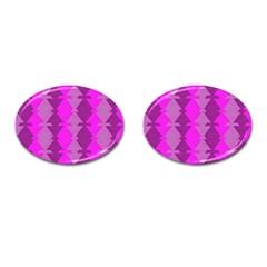 Fabric Textile Design Purple Pink Cufflinks (oval) by Nexatart
