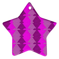 Fabric Textile Design Purple Pink Star Ornament (two Sides)
