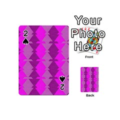 Fabric Textile Design Purple Pink Playing Cards 54 (mini)  by Nexatart