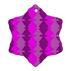 Fabric Textile Design Purple Pink Snowflake Ornament (two Sides)