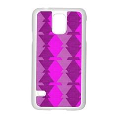 Fabric Textile Design Purple Pink Samsung Galaxy S5 Case (white) by Nexatart