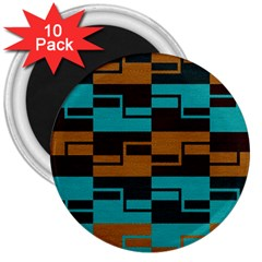 Fabric Textile Texture Gold Aqua 3  Magnets (10 Pack)