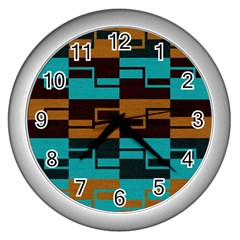 Fabric Textile Texture Gold Aqua Wall Clocks (silver)  by Nexatart