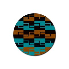 Fabric Textile Texture Gold Aqua Rubber Round Coaster (4 Pack)