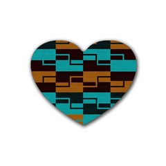 Fabric Textile Texture Gold Aqua Heart Coaster (4 Pack)  by Nexatart