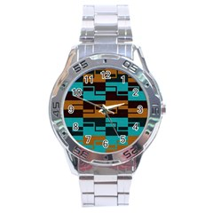 Fabric Textile Texture Gold Aqua Stainless Steel Analogue Watch by Nexatart