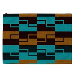 Fabric Textile Texture Gold Aqua Cosmetic Bag (xxl)