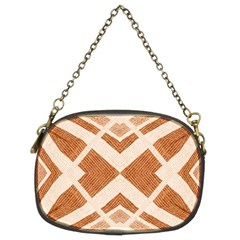 Fabric Textile Tan Beige Geometric Chain Purses (two Sides)
