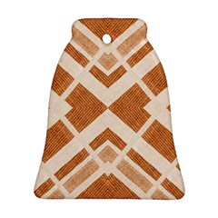 Fabric Textile Tan Beige Geometric Bell Ornament (two Sides) by Nexatart