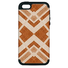 Fabric Textile Tan Beige Geometric Apple Iphone 5 Hardshell Case (pc+silicone)