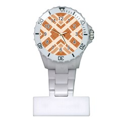 Fabric Textile Tan Beige Geometric Plastic Nurses Watch