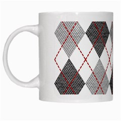 Fabric Texture Argyle Design Grey White Mugs by Nexatart