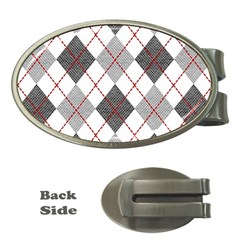 Fabric Texture Argyle Design Grey Money Clips (oval)  by Nexatart