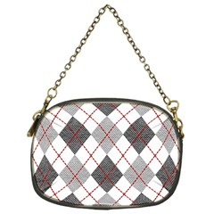 Fabric Texture Argyle Design Grey Chain Purses (one Side)  by Nexatart