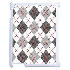 Fabric Texture Argyle Design Grey Apple Ipad 2 Case (white)