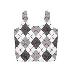 Fabric Texture Argyle Design Grey Full Print Recycle Bags (s)