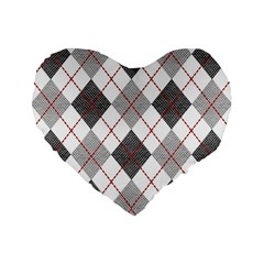 Fabric Texture Argyle Design Grey Standard 16  Premium Flano Heart Shape Cushions by Nexatart