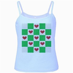 Fabric Texture Hearts Checkerboard Baby Blue Spaghetti Tank