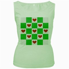 Fabric Texture Hearts Checkerboard Women s Green Tank Top