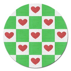 Fabric Texture Hearts Checkerboard Magnet 5  (round) by Nexatart