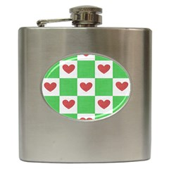 Fabric Texture Hearts Checkerboard Hip Flask (6 Oz)
