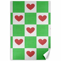 Fabric Texture Hearts Checkerboard Canvas 12  X 18