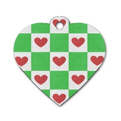 Fabric Texture Hearts Checkerboard Dog Tag Heart (one Side)