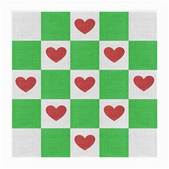 Fabric Texture Hearts Checkerboard Medium Glasses Cloth (2 Side)