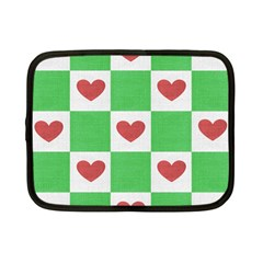 Fabric Texture Hearts Checkerboard Netbook Case (small)  by Nexatart