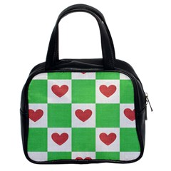 Fabric Texture Hearts Checkerboard Classic Handbags (2 Sides)