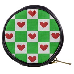 Fabric Texture Hearts Checkerboard Mini Makeup Bags by Nexatart