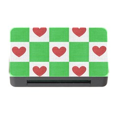 Fabric Texture Hearts Checkerboard Memory Card Reader With Cf