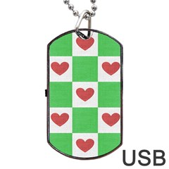 Fabric Texture Hearts Checkerboard Dog Tag Usb Flash (one Side)